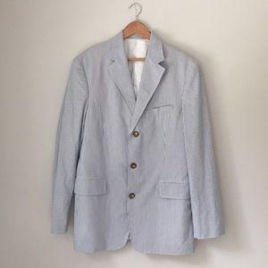 J. Crew Blue Cotton Seersucker Blazer Size 42L